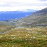 Snaufjell med grønn beplantning, fjell i bakgrunnen.