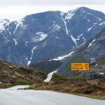 Fjellveg som snirkler seg ned mellom bratte fjell.